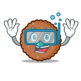 Diving chocolate biscuit character cartoon Royalty Free Illustration