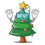 Diving Christmas tree character cartoon. Vector illustration Stock Photo