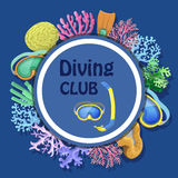 Diving club advertising with round decorative frame mask, tube, corals. Diving club advertising with round decorative frame with mask, tube, corals vector Royalty Free Stock Photos