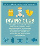 Diving club poster Royalty Free Stock Photos