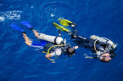 A Diving Coach Teaching Student to Diving (Koh Tao, Chumphon, Thailand) Royalty Free Stock Image