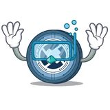 Diving 0X coin character cartoon. Vector illustration Royalty Free Stock Images