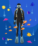 Diving collection. Sport underwater water sea glove and flashlight Royalty Free Stock Photos