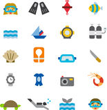 DIVING colored flat icons Royalty Free Stock Image