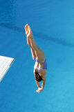 Diving competition. Bulgaria, Sofia, 18th of July 2012.  female diver performing jump during the international 3rd NSA Diving Cup which was held in Sofia Royalty Free Stock Image