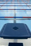 Diving competition platform. A blue diving platform looking at a blocked lane. What will the diver do stock photos