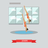 Diving concept vector illustration in flat style. Vector illustration of swimming pool interior and sportswomen jumping into water. Diving, springboard or Stock Image