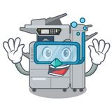 Diving copier machine isolated in the cartoon. Vector illustration stock illustration