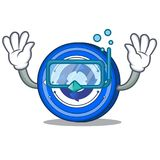 Diving Cryptonex coin character cartoon. Vector illustration Stock Images