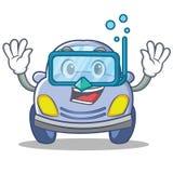 Diving cute car character cartoon Stock Photo