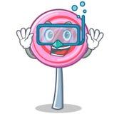 Diving cute lollipop character cartoon. Vector illustration Stock Photo