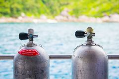 Diving cylinder breathing tank for scuba diver. Tank royalty free stock image