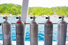 Diving cylinder breathing tank for scuba diver. Tank royalty free stock photos