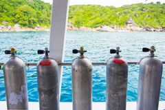 Diving cylinder breathing tank for scuba diver. Tank stock photo