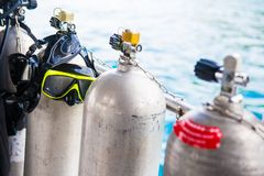 Diving cylinder breathing tank for scuba diver. Tank royalty free stock photo