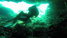 Diving. In Cyprus in underwater cave stock footage