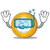 Diving Decred coin character cartoon. Vector illustration Stock Photos