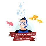 Diving design concept set with instructor Royalty Free Stock Photos