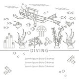 Diving design concept. Set-lifetime underwater divers, fish, seaweed, diving equipment. Flat icons in trending linear style. Vector illustration isolated Stock Photography