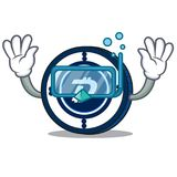 Diving Digibyte coin character cartoon. Vector illustration Stock Images