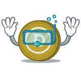 Diving Dogecoin character cartoon style. Vector illustration Royalty Free Stock Photo