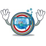 Diving Dragonchain coin character cartoon. Vector illustration Stock Photography