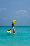 Diving on the dream beach in Kuredu, Maledives. royalty free stock images