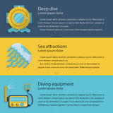 Diving elements colored illustration Stock Image