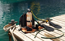 Diving equipment. Scuba or diving equipment on pier, Eilat, Israel Royalty Free Stock Images