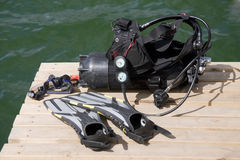 Diving equipment. On the wood pier Royalty Free Stock Image