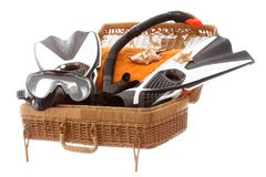 Diving equipment in a basket case. Travel symbol Royalty Free Stock Photos