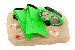 Diving equipment on the beach Stock Image