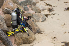 Diving equipment on a beach Stock Images