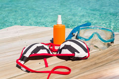 Diving equipment on the beach. Royalty Free Stock Images