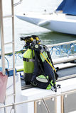 Diving equipment on a boat Stock Image