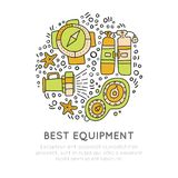 Diving equipment hand draw icons. Underwater activity vector icons. Scuba-diving elements and summer concept - dive line. Doodle icons in round form. Marine Royalty Free Stock Photography