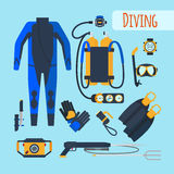 Diving equipment icons. Diving equipment. Mask and snorkel, oxygen tanks and wetsuit. Vector illustration Stock Photo