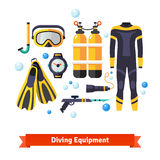 Diving equipment icons set Stock Photo