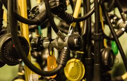 Diving equipment oxygen cylinders pipe closeup details view stock images