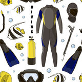Diving equipment pattern Royalty Free Stock Images