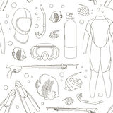 Diving equipment pattern Royalty Free Stock Image