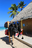 Diving equipment ready for tourists at diving shop located at  Bavaro Beach in Punta Cana Royalty Free Stock Images