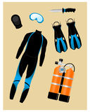 Diving Equipment Set Stock Photos