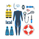 Diving Equipment Set. Vector Royalty Free Stock Images