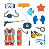 Diving Equipment Set Vector. Scuba Diver Accessories. Mask, Tube, Buoy, Starfish, Fish, Underwater Gun, Camera, Oxygen. Tank Knife Flippers Pressure Depth Royalty Free Stock Image
