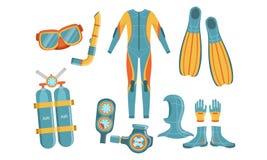 Free Diving Equipment Set, Wetsuit, Underwater Mask, Snorkel, Aqualung, Depth Gauge, Fins Vector Illustration Stock Photo - 158814460