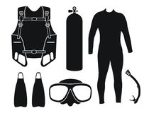 Diving equipment - silhouette Stock Photo