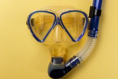 Diving equipment. Snorkeling mask and tub royalty free stock photo