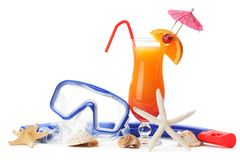Diving equipment and summer refreshing drink Stock Image
