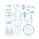 Diving Equipment Thin Line Set. Vector Royalty Free Stock Photos
